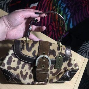 Coach rate cheetah calfhair mini bling handbag